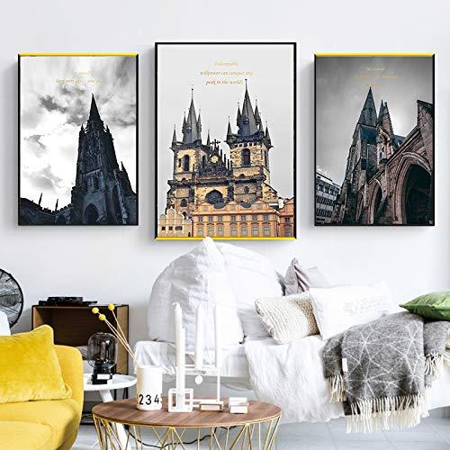 Dongwall Neoklassizistische Architektur Leinwand Malerei nordische Kunst Mode Bild Wohnkultur Wohnzimmer Rahmenlos -50x70cm