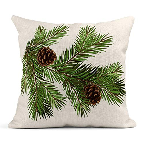 485 Cushion Covers Bed Pillow Case 45x45cm Soft Pillow Covers Green Aged Branch Of Christmas Tree With Pine Cone Celebrate December Evergreen Pillow Covers