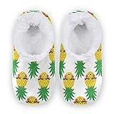 linomo Lindas zapatillas con patrón de piña para mujer, pantuflas de casa para mujer, zapatos de casa, zapatos de dormitorio, calcetines, color Multicolor, talla 40/41 EU