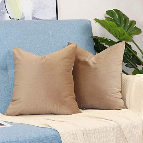 sykting Decorative Pillow Covers Solid Soft Cozy Velvet Throw Pillow Covers for Home New Year Christmas Decorations Pack of 2 18x18 inch Tan