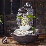 Decoración de acuarios Oficina Sala fuente de escritorio Silenciar la bomba de agua del humidificador Feng Shui Lucky decoración de interiores Fuente de cerámica hecha a mano de la fuente de ocio, Ad