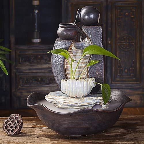 Fuente Agua Feng Shui Oficina Sala fuente de escritorio Silenciar la bomba de agua del humidificador Feng Shui Lucky decoración de interiores Fuente de cerámica hecha a mano de la fuente de ocio, Bons