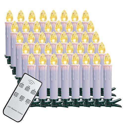 SZILBZ 40Stk Weihnachten LED Kerzen Lichterkette Weihnachtsbaumkerzen weihnachtskerzen Christbaumkerzen mit Fernbedienung Kabellos Weisse Hülle