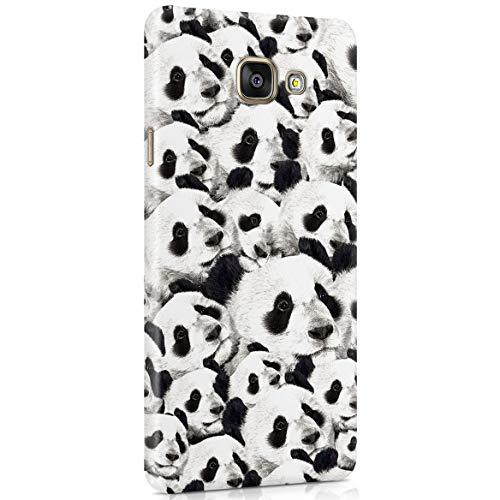 Custodia in Plastica Rigida per Samsung Galaxy A5 2016 White And Black Panda Heads Crazy Funny Hilarious Cover Protettiva Sottile e Leggera