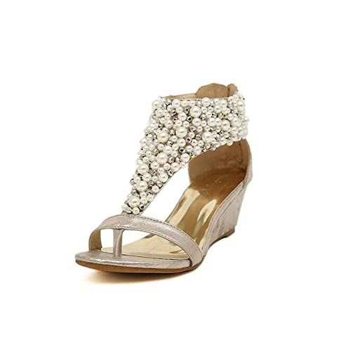 fe8016c6067 Angelliu Women s Fancy Bohemian Rhinestone Pearl Wedges Sandals T-Strap  Shoes