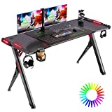SOViD Gaming Desk with LED RGB Lights 55 Inch PC Computer Desk Y Shaped Gamer Setup Accessories for Sons' Gift Game Table Gamer Handle Rack Cup Holder & Headphone Hook Black
