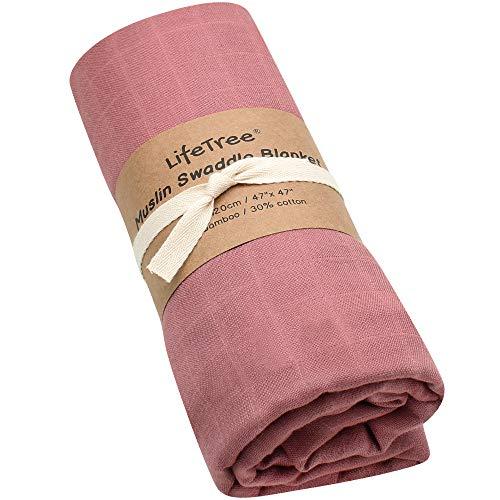 LifeTree Mantas de Muselina Bebé, Súper Suave Mantas Envolventes de Muselina, Bambú Algodón 120x120 cm Color Sólido