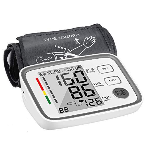 ATMOKO Oberarm Blutdruckmessgerät, Blutdruckmessgerät für Oberarm mit Arrhythmie-Erkennung und Pulsmessung, 2 * 90 Speicher Messungen, LCD-Großbildschirm, Manschettengrößen 22-42cm