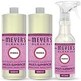 Mrs Meyer's Clean Day Set Pulito, 1 Spray Multisuperficie + 2 Detergente Concentrato Multisuperficie, Fragranza Peonia, Prodotti creati con Oli essenziali, 1 x 473 ml + 2 x 946 ml