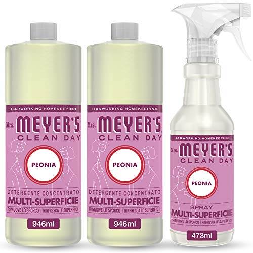 Mrs Meyer's Clean Day - Set de limpieza (1 spray multisuperficie + 2 limpiador concentrado multisuperficie, fragancia peonía, productos creados con aceites esenciales, 1 x 473 ml + 2 x 946 ml)