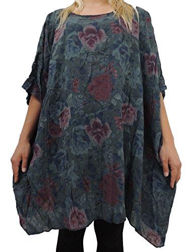 Blusen Shirts mit tollem Muster Größe 54 56 58 60 (Dunkelgrau)