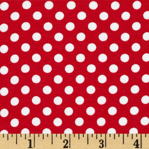 Christensen Wholesale Riley Blake Jersey Knit Small Dots Red Fabric by The Yard, Red