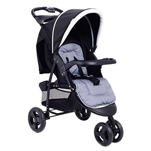 Costzon Baby Jogger Stroller 3 Wheel Pushchair Travel w/Storage Basket (Black)