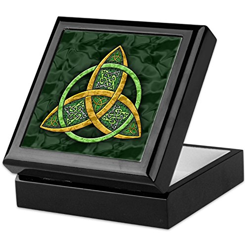 CafePress Celtic Trinity Knot Keepsake Box, Finished Hardwood Jewelry Box, Velvet Lined Memento Box