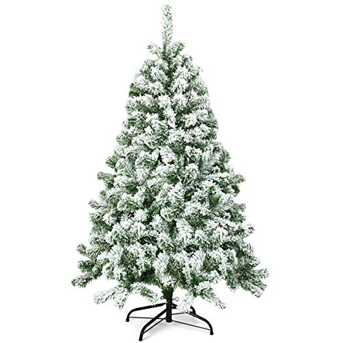 COSTWAY 4.5ft/6ft Snow Flocked Christmas Tree, Hinged Pine Tree with Foldable Metal Stand, Bushy Artificial Xmas Full Trees for and Outdoor Home Decoration (Green, 140cm)