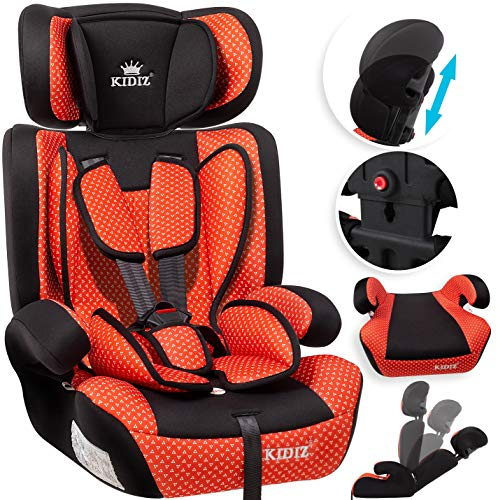 KIDIZ® Autokindersitz Kindersitz Kinderautositz | Autositz Sitzschale | 9 kg - 36 kg 1-12 Jahre | Gruppe 1/2 / 3 | universal | zugelassen nach ECE R44/04 | 6 verschiedenen Farben | Rot
