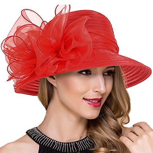 Ruphedy Damen Ascot Derby Kirche Sonnenhut Britische Hochzeit Tee Party Hüte S051 (Rot)