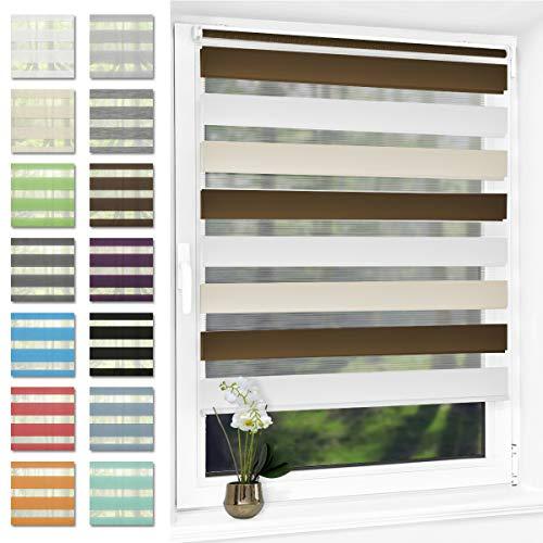 Doppelrollo klemmfix ohne Bohren Duo Rollo für Fenster,lichtdurchlässig und verdunkelnd Wandmontage Sichtschutz, 50 x 150 cm(BxH) Weiß-Beige-Braun