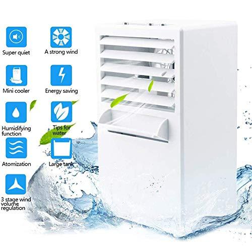JZH-Light Climatiseur Portable Mini Refroidisseur d'air 3 en 1 Climatiseur Mobile, Portable Ventilateur De Climatisation Air Purifier Humidifier, avec Réservoir d'eau De 420 ML/ 3 Niveaux De Vitesse