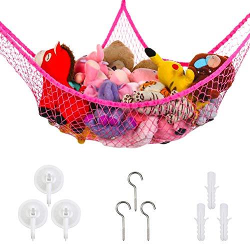 Speichernetz Spielzeug Hängematte Aufbewahrung Netz Kinderzimmer Spielzeug Organizer Netz kinder Spielzeug Veranstalter Kleinkinder Toy Hammock Storage Net für Kuscheltiere (Rosa)