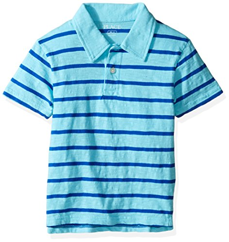 The Children's Place Big Boys' Thin Stripe Polo Shirt, Gulfstream, M (7/8)