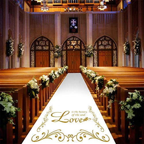 Wedding Aisle Runner 3 x 100 ft Outdoor White with Golden Imprint Weddding Ceremony Decorations Aisle Set Outside White Aisle Runner Rug Pull Cord Included