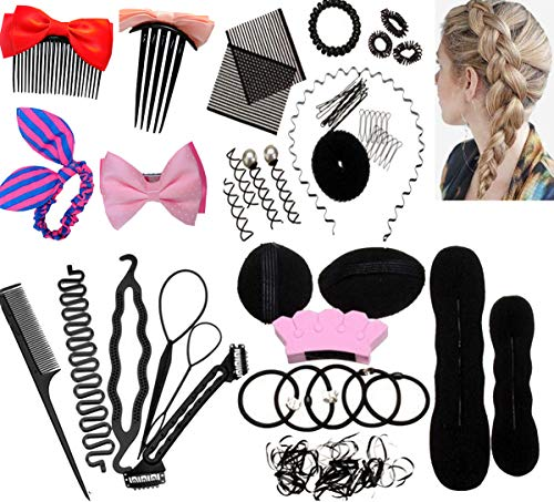 Haare Frisuren Set,Haar Zubehör styling set,Hair Styling Accessories Kit Set Haar Styling Werkzeug, Mädchen Frau Magic Haar Clip Styling Pads Schaum Hair Styling tools für DIY (26pcs)