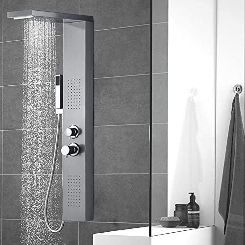 LARS360 Pannello doccia in acciaio inox 4 in 1 con doccetta, doccia a pioggia, massaggi e doccia a cascata, set doccia per bagno (pannello doccia argento)