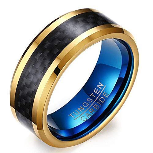 PLKN Anillos de acero de tungsteno para hombre, anillo de tungsteno negro mate acabado biselado borde pulido comodidad, anillos de boda para hombres y mujeres-L_9#