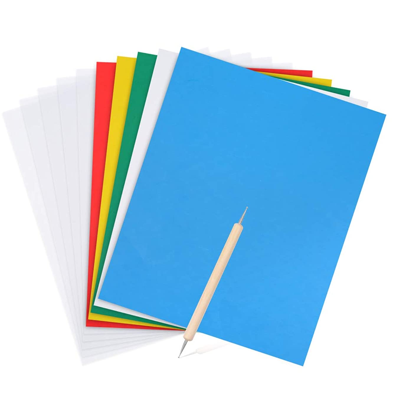 Caydo 11 Pieces Transfer Paper and Tracing Paper with Embossing Stylus, Carbon Water-Soluble Transfer Paper 11 x 9 Inch, Transfer Pattern on Cross Stitch Cloth, Canvas, Wood for Home Sewing Paint Kit