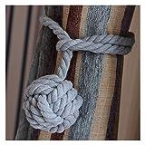 Galleria foto Vankra - Coppia di fermatende con nappa, fatti a mano, in corda di cotone Grigio