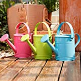 Asodomo 1.5L Multi-Color Metal Watering Can, Garden Watering Bucket with 2 Handles, Children Sprinkled Kettle for Garden Home Plants Flower