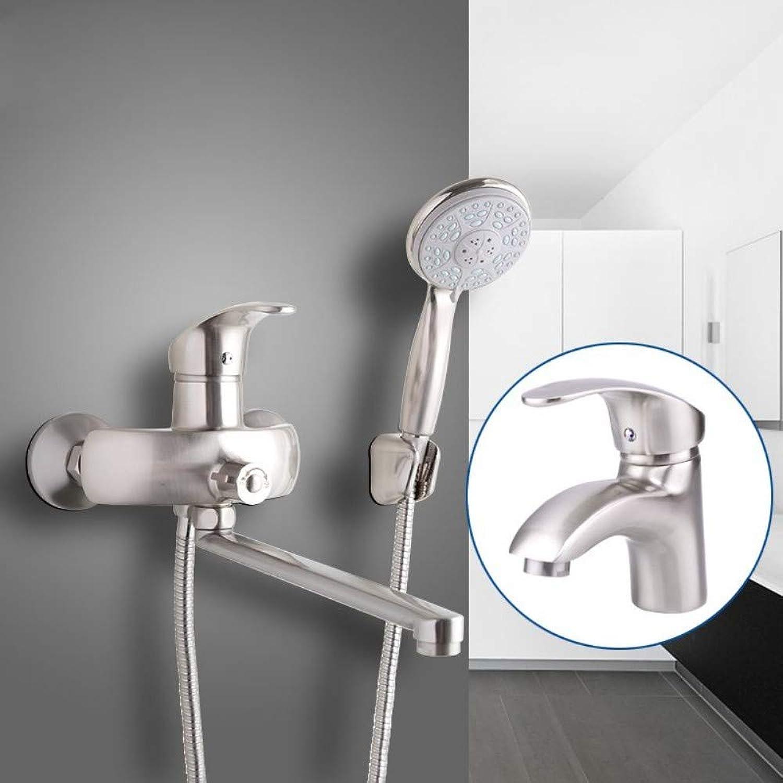 LIUFENG Nickel Brushed Badarmatur mit Beckenhahn für heie und kalte Wasserhhne ABS-Duschkopf Auslassrohr