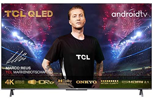 TCL Televisor QLED 50C721 de 50 pulgadas Smart TV (4K UHD, HDR 10+, Dolby Vision Atmos, Motion Clarity, Android 11, altavoz ONKYO, Google Duo, Google Assistant & Alexa, diseño de metal sin marco)