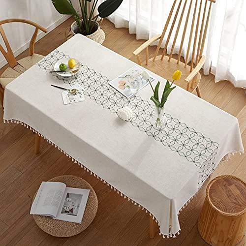 Tovaglia di lusso per tovaglia Tovaglie di stoffa rettangolari in tinta unita Tavolini con nappe Pad sul tavolo Journal Nordic 140x220cm A-verde
