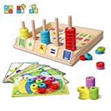 Lydaz Wooden Puzzles Counting Toys, Montessori Preschool Learning Educational Math Toys for Toddlers, Matching Shape Sorter Stacking Blocks Fine Motor Skills Toys for 3 Year Olds and Up