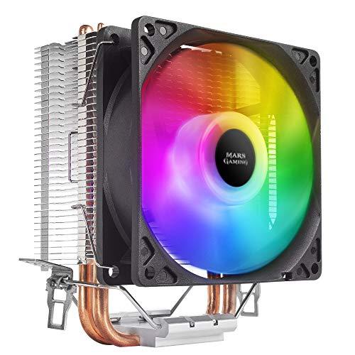 MARSGAMING MCPUARGB, Dissipatore di calore per CPU RGB, 2x Heatpipes HCT, TDP 130W, PWM Silent