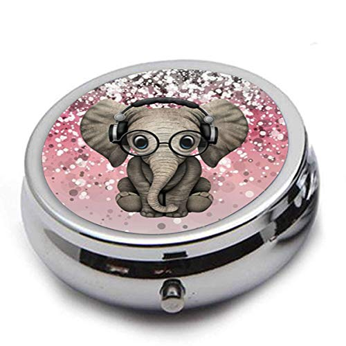 Medicine Storage, Pill Box for Purse,Travel Round Shape Stainsteel Drug Box Easy Take with Mirror - Elephant