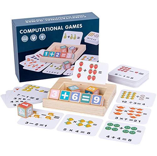 Computational Games - Juego de cálculo Montessori de madera, cubos matemáticos para aprender a contar, material CP-CM2
