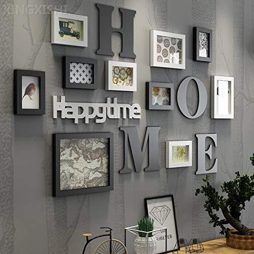 XINGXISHI Bilderrahmen Collage Fotorahmen Collage Massivholz Kombination Wohnzimmer Fotorahmen Wand kreative Restaurant Hintergrund Wanddekoration (Schwarz Weiß)