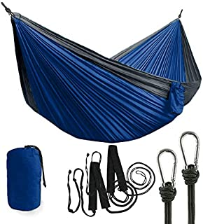 Double Hammock Great for Camping, Hiking, Outdoors - Hammocks w/Tree Friendly Straps & Storage Bag Included - Compact & Lightweight Portable Hammock - Durable Two Person Hammock, Holds Up to 400 lbs