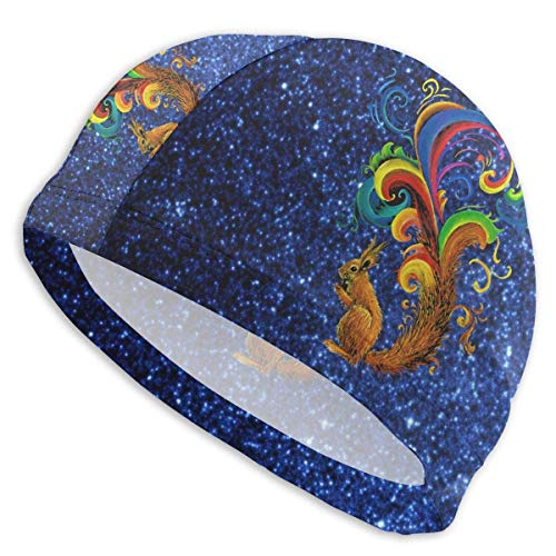 HFHY Psychedelic Squirrel Adult Summer Beach Bath Caps for Men Women Unisex