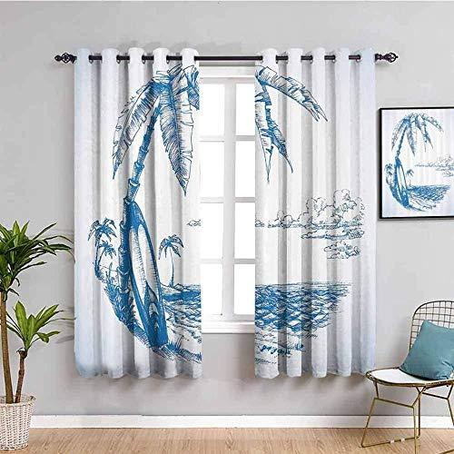 ZLYYH Cortinas Para Salon Azul plantas hojas océano 140x229cm Cortinas Opacas Salon Cortina Aislantes Termicas Dormitorio Cortinas Reducir El Ruido Oficina,Cortinas de 3D Cortina Decorativa