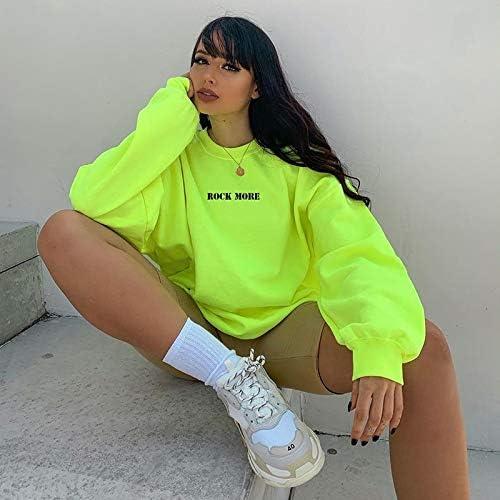 HOVYGB Femmes À Manches Longues Sweat Femme Automne Nouvelle Mode Lâche Décontracté Sweat Vert