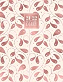 2021 - 2022 Academic: Diary A4 Week to View on 2 Pages WO2P | Mid - Year Weekly Student Planner Horizontal Layout | Aug 21 - Aug 22 Journal | Rose Gold & Pale Pink Foil Leaves Pattern