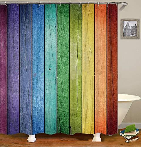 KGDUYH Duschvorhang Stoff Duschvorhänge Regenbogen aus Holz Print Design wasserdicht dekorative Badezimmer-Vorhang Indoor Outdoor Für Badezimmer zu Hause, Hotel (Color : A, Size : 180x200cm)