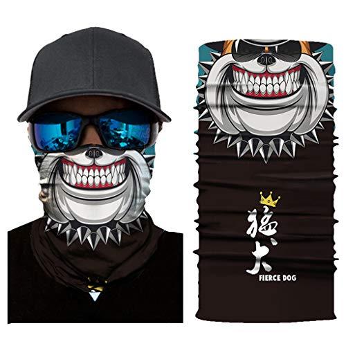 Multifunktionstuch Herren Sport, Damen Männer Horror Ugly Skull Clown 3D Druck Motorrad Face Shield Sturmhaube Joker Schädel Totenschädel Bandana Fahrrad Tuch Funktionstuch Halstuch Kopftuch (AC385)