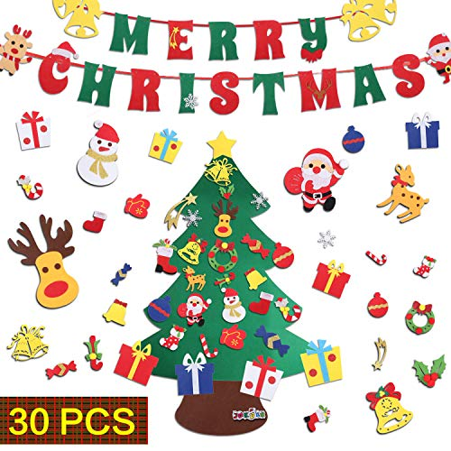 JOKBEN DIY Felt Christmas Tree Set, with Merry Christmas Felt Banner Wall Hanging Christmas Decorations with 30pcs Detachable Ornaments Xmas Gifts for Child
