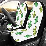 Zemivs Lovely Green Watercolor Oasis Cactus Custom Universal Fundas de Asiento de Coche Protector para Mujeres Automóvil Jeep Vehículo Conjunto Completo de Accesorios para bebé Adulto 2 Delanteros