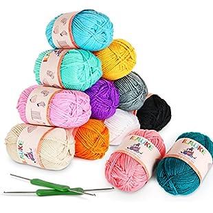 12 x 50g Balls of Assorted Double Knitting Yarn + 2 Crochets ilauke Coloured Acrylic Yarn Set (1200 mts):Shizuku7148